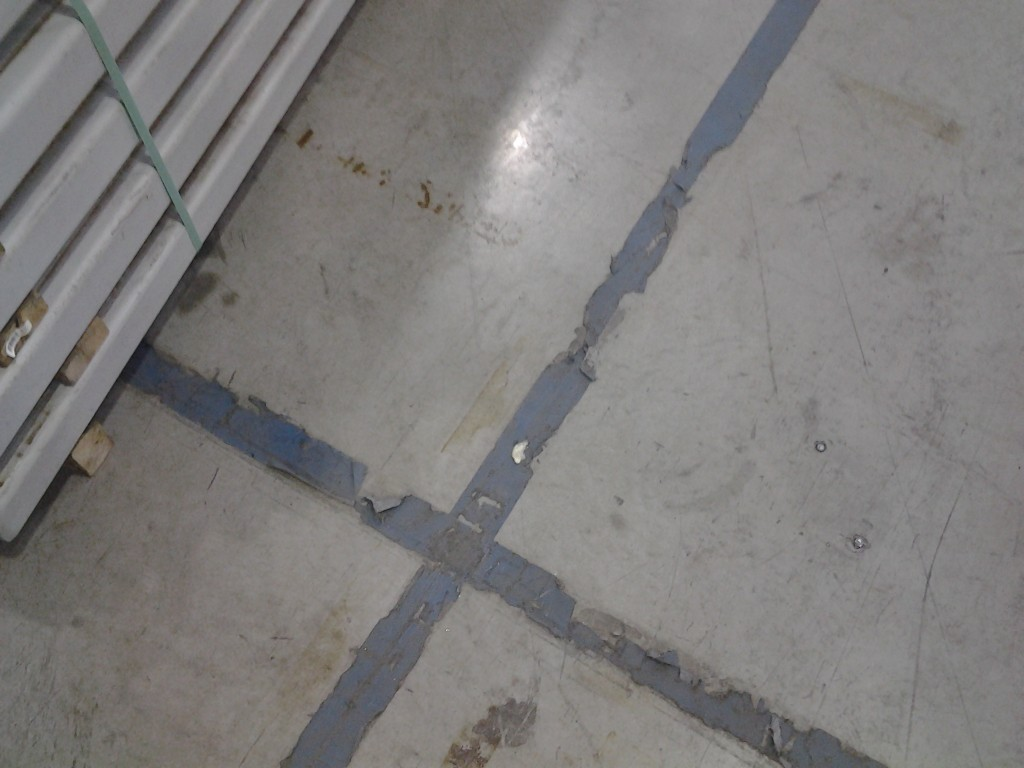 Line striping tape needing replaced