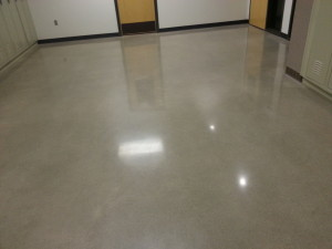 Medium to high gloss flooring finish educational facility