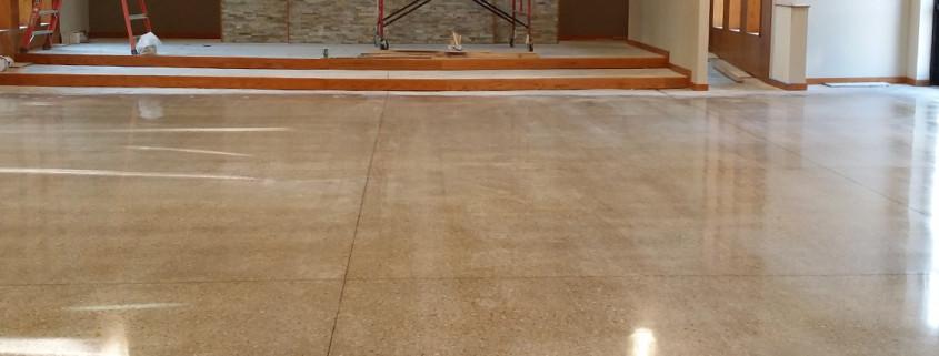 church high gloss concrete floor polishing