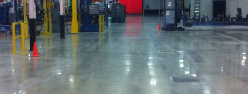 Polished concrete flooring at manufacturing facility Ottumwa, Iowa